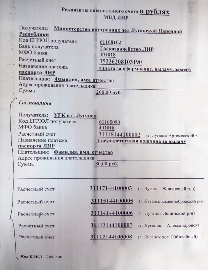 Квитанция реквизиты на паспорт ЛНР для оплаты госпошлины